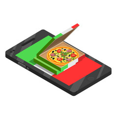 pizza online isometric composition vector image vector image
