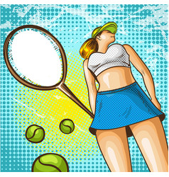 pop art of tennis player with vector image