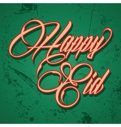 Retro calligraphy of text happy eid - il vector