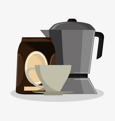 Set metallic jar with packaking of coffee and vector