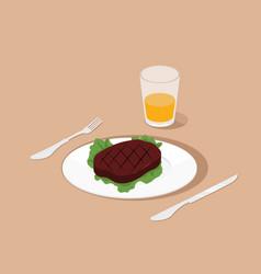 steak on dish isometric vector image vector image