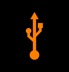 Usb sign orange icon on black vector