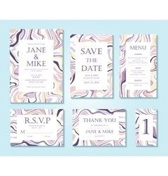 Wedding invitation card suite with ink vector