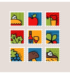 Thanksgiving day stamp set harvest vector