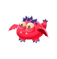 Pink spiky fantastic friendly pet dragon fantasy vector