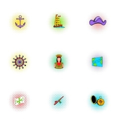 Geography icons set pop-art style vector