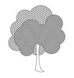 Monochrome silhouette leafy tree with zig zag vector