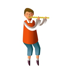 Portrait of boy playing flute vector