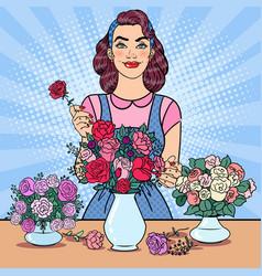 woman florist making bunch of flowers pop art vector image