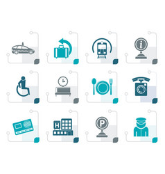 Stylized airport travel and transportation icons vector