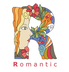 Letter r romantic vector
