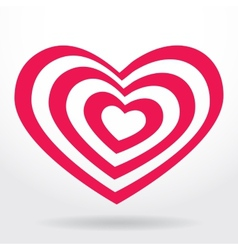 Pink white striped heart on white background vector image