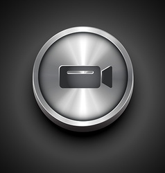Metallic video camera icon vector