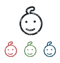 Smiling child grunge icon set vector