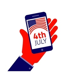 Fourth july smartphone on hand vector