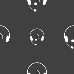 Headsets icon sign seamless pattern on a gray vector