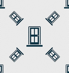 Door icon sign seamless pattern with geometric vector