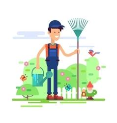 Gardener standing in garden with watering can vector image