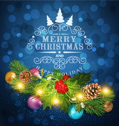 Blue christmas background with garland vector
