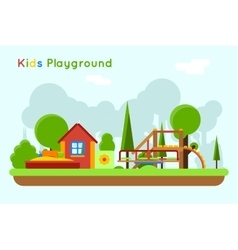 Slide and sandpit in the playground vector