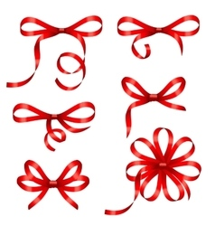 Collection red gift bows isolated vector
