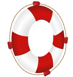Red ring-buoy with rope vector