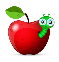 Worm coming out of an apple vector
