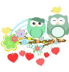 Two cute owls and bird on the flower tree branch vector