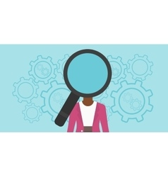 Woman with magnifier instead of head vector