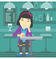 Woman drinking at the bar vector