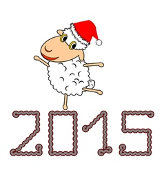 A funny Christmas cartoon sheep vector image vector image