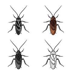 Cockroach icon in cartoon style isolated on white vector