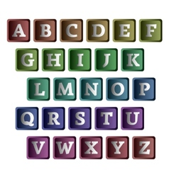 Colorful alphabet in the form of buttons vector image