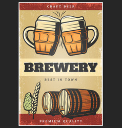 colorful vintage brewing poster vector image vector image