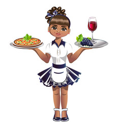 Cute waitress with a tray vector