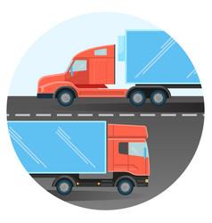 Diesel trucks drive on two-line highway inside vector