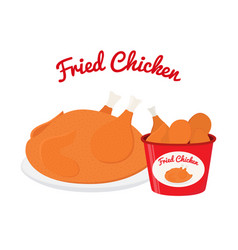 fried chicken cartoon flat style vector image vector image