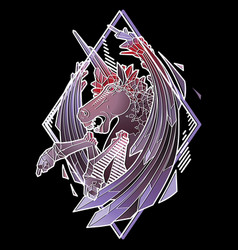 graphic demonic unicorn vector image
