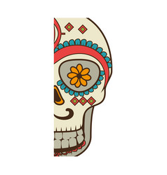 Half piece decorative ornamental sugar skull vector