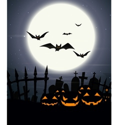 Halloween background with full moon vector image