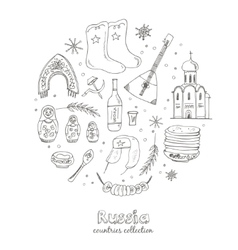 Hand drawn doodle Russia travel set vector image vector image
