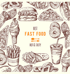 hand drawn fast food background vector image vector image
