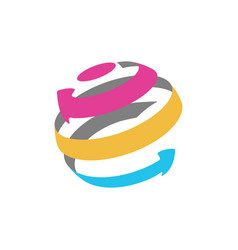 isolated abstract globe logo from color arrows vector image vector image
