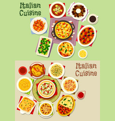 italian cuisine pasta dishes icon set food design vector image vector image