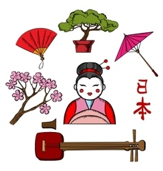Japanese travel and culture icons vector image vector image