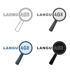 Learning foreign language icon in cartoon style vector