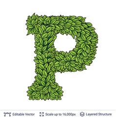 Letter p symbol of green leaves vector