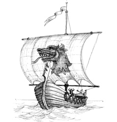 Long boat drakkar sketch vector image