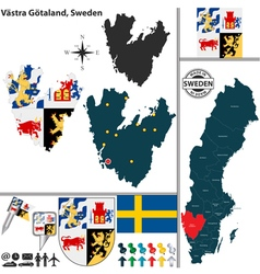 Map of Vastra Gotaland vector image vector image