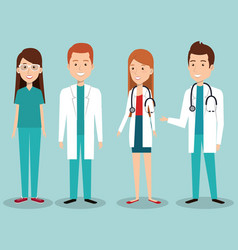 Medical staff group avatars vector